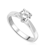 Tiffany Set Solitaire on Wide Band. 0.75 Cts. In Platinum Plated Sterling Silver.