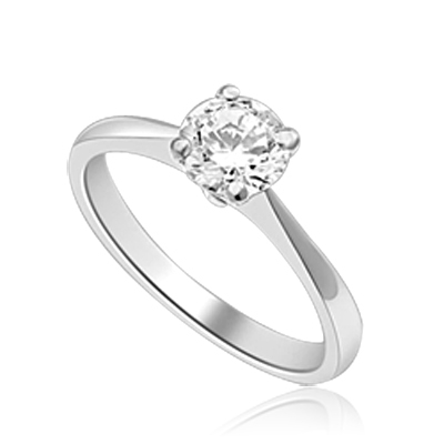 Delicate Darling - 0.75 Ct. Round Cut Brilliant Solitaire Ring to set the heart racing. In Platinum Plated Sterling Silver.