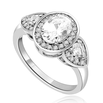 A remarkable combination Ring of 1.5 Ct Oval, 0.25 Ct Trillion and round Accents shows off a sparkle that is surefire hit! 2.5 cts. t.w. In Platinum Plated Sterling Silver.