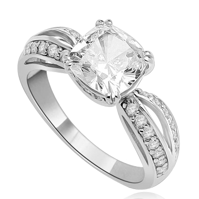 Cushion Cut Tiffany Set Ring - 2.5 Cts. T.W. In Platinum Plated Sterling Silver.