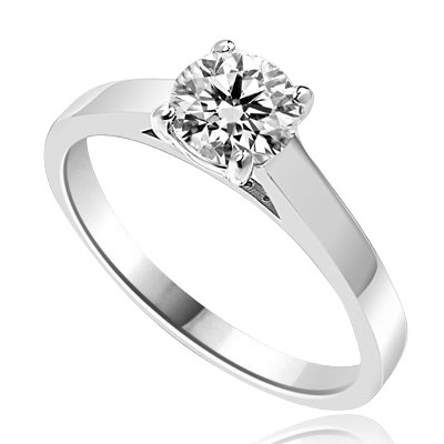 Beautiful Solitaire Ring with 1.0 Ct. T.W. Round Brilliant Diamond Essence, set in  Platinum Plated Sterling Silver.