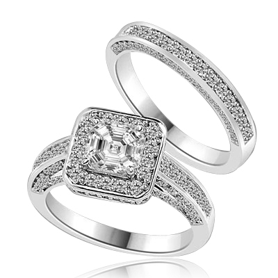 Wedding set with sparkles all around-1.25 Cts. Asscher cut Diamond Essence set in the center, outlined with Melee around and on the band. Curved matching band with sparkling melee. 2.75 Cts. T.W. in Platinum Plated Sterling Silver.