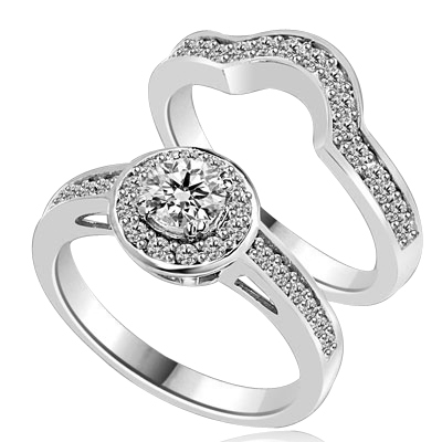 An attractive Wedding Set with 0.50 Ct. Round Brilliant Diamond Essence set in eight prong setting in center with Melee around and on band. The matching Band is curved in center, to fit with main Ring. 1.0 Cts. T.W. set in Platinum Plated Sterling Silver.