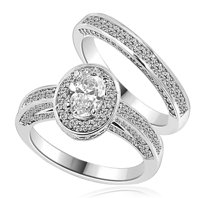 Wedding Set--1.0 ct. Oval cut Diamond Essence set in the center with melee around. Matching band with Melee. 2.50 cts.t.w. in Platinum Plated Sterling Silver.