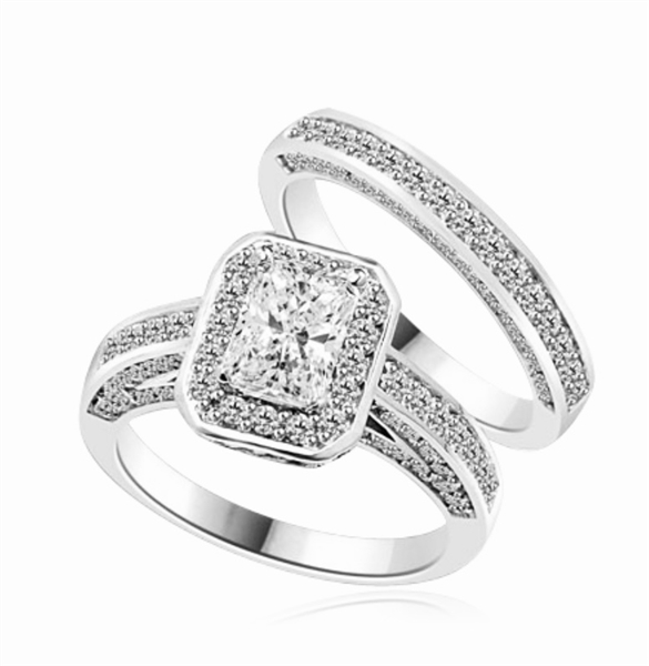 Wedding Set - 1.0 Ct. Radiant Emerald cut Diamond Essence center with Melee around and flowing down the band. Matching band with Melee, 2.75 Cts. T.W. set in Platinum Plated Sterling Silver.
