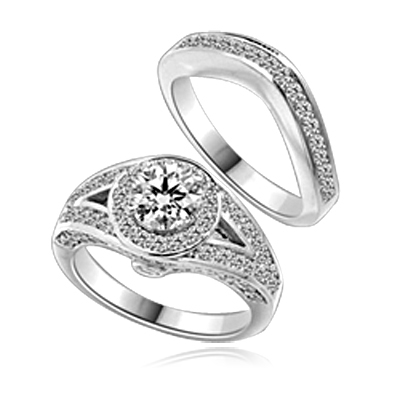 Wedding Set - 1.0 Ct. Round Brilliant Diamond Essence in center with Melee set in intervening design on either side and Wedding band with delicately set Melee. 2.35 Cts. T.W. in Platinum Plated Sterling Silver.