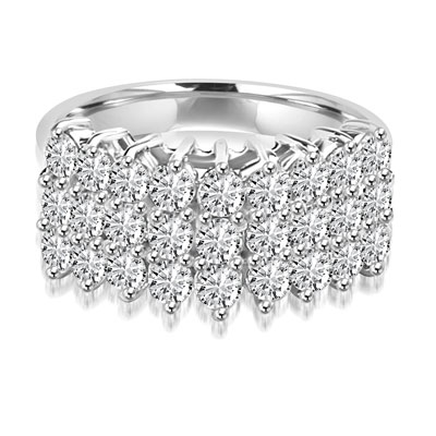 Diamond Essence Ring with three rows of Round Brilliant stones, each 0.10 ct. in Prong setting. 2.70 cts.t.w.in Platinum Plated Sterling Silver.