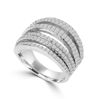 Diamond Essence Ring With Seven Rows of Melee, 1.50 Cts.T.W. In Platinum Plated Sterling Silver.