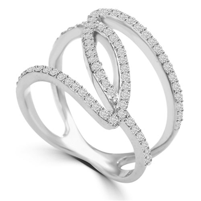 Diamond Essence 1 Ct. Brilliant Melee Set In Interwining, Platinum Plated Sterling Silver Designer Setting.