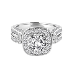 1.50 cts. Round Brilliant Diamond Essence in the center Surrounded by Melee, accompanied by Princess cut Diamond Essence and rows of Sparkling Melee on each side of the band, 3.0 cts. t.w.
