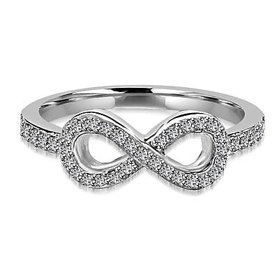 Infinity Ring with 1.60 cts.t.w. of Diamond Essence Melee, in Platinum Plated Sterling Silver.