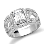 Platinum Plated Sterling Silver Designer Ring With 1.50 Cts. Emerald Cut Diamond Essence Center Surrounded By Melee And Exquisitely Set Round Brilliant Melee On Both The Sides Of Band, 2.50 Cts.T.W.