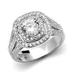 Platinum Plated Sterling Silver Diamond Essence Designer Ring With 1 Ct. Round Brilliant Center Surrounded By Melee And Three Rows Of Melee On the Band Enhance the Beauty, 2.50 Cts.T.W.