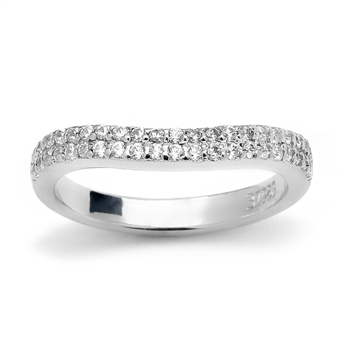 Platinum Plated Sterling Silver Band With Two Rows Round Brilliant Diamond Essence Stones Set in Prong Setting, 0.5 Ct.T.W.