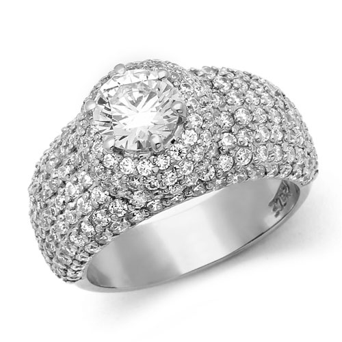 Diamond Essence Designer Cocktail Ring With 1 Ct. Round Brilliant Center Set On Dome Pave Setting Melee, 3 Cts.T.W. In Platinum Plated Sterling Silver.