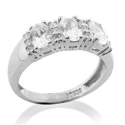 Diamond Essence Ring With Three Oval Stone Seperared By Round Brilliant Melee in platinum Plated Sterling SiIver.