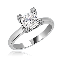 Diamond Essence Designer Solitaire Ring With 1.25 Cts. Round Brilliant Stone Set in Four Prong Setting,1.50 Cts.T.W. in Platinum Plated Sterling Silver.