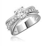 Diamond Essence Designer Trail Blazing Trend Setter Ring With 1.25 Cts. Round Brilliant sets atop on a Band with Round Melee , 1.75 Cts.T.W in Platinum Plated Sterling Silver.