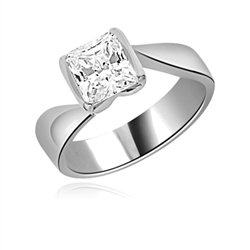 Diamond Essence Solitaire Ring with 1.50 Cts. Princess cut stone set in Platinum Plated Sterling Silver.