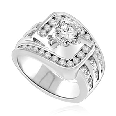 Diamond Essence Designer Ring with 1 Ct. Round Diamond Essence in Center, surrounded by Round and Princess Melee on band, 2.50 Cts.T.W. set in Platinum Plated Sterling Silver.