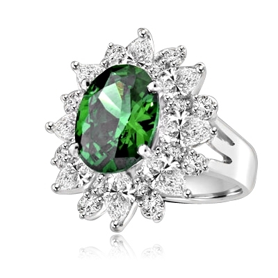 Party Perfect Ring with Sparkling Pear cut and Round cut Diamond Essences around 5.0 Cts. Oval cut Emerald Essence in center, making beautiful floral design. 9.0 Cts. T.W. set in Platinum Plated Sterling Silver.