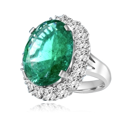 Emerald Ring - 15.0 Cts. Oval cut Emerald Essence in center with Round Brilliant Diamond Essences set all around. 19.0 Cts. T.W. set in Platinum Plated Sterling Silver