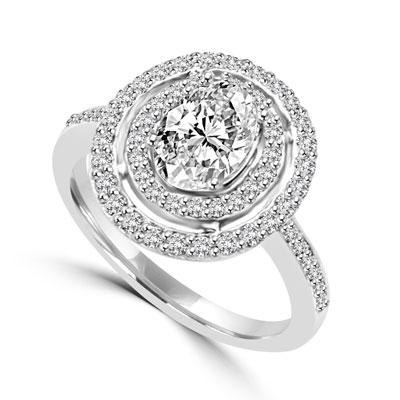 Diamond Essence Designer Ring With 1 Ct. Oval Center in Four Prongs, Surrounded By Two Rows Of Melee, 1.50 Cts. T.w. In Platinum Plated Sterling Silver.