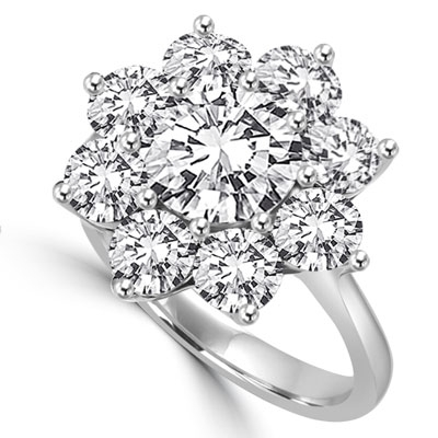 Diamond Essence Floral Design Ring with 2 Cts. Round Brilliant Center and 0.30 Ct. Each In Surrounding, 4.40 Cts.T.W. In Platinum Plated Sterling Silver.