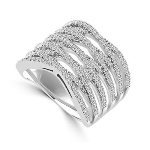 Diamond Essence Designer Cocktail Ring With Brilliant Melee, Set in Platinum Plated Sterling Silver CrissCross Setting.
