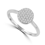 Diamond Essence Ring with Brilliant Melee In Circular Pave Setting, 0.20 Ct.T.W. In Platinum Plated Sterling Silver.