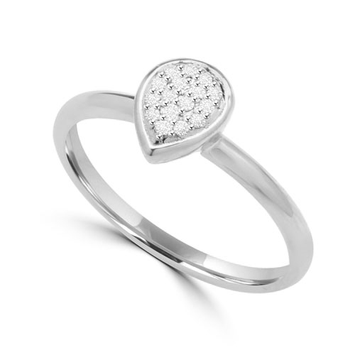 Diamond Essence Delicate Ring With Brilliant Melee in Pear Shape Setting, 0.10 Ct.T.W. In Platinum Plated Sterling Silver