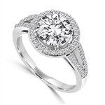 Diamond Essence Halo Setting Designer Ring with 2 Cts. Round Brilliant Center and Melee Around It and On The Band, 2.50 Cts.T.W. In Platinum Plated Sterling Silver.