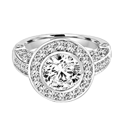 Designer Ring with Bezel Set, 2.0 Cts. Round Brilliant Diamond Essence in center with Melee around and on the band, 2.5 Cts. T.W. set in Platinum Plated Sterling Silver.