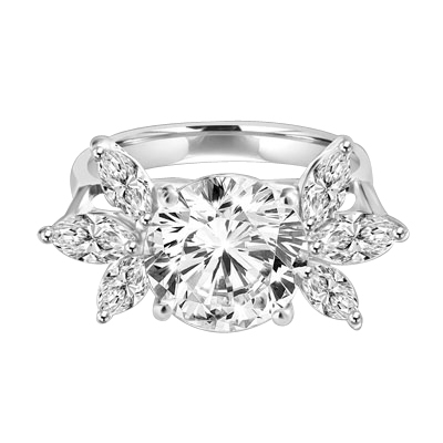 Designer Ring with 3.25 Cts. Round Brilliant Diamond Essence in center accompanied by three Marquise cut Diamond Essences on each side, 3.75 Cts. T.W. set in Platinum Plated Sterling Silver.