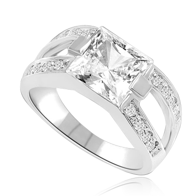 2 CT Princess Cut Ring with Wide Split Band. In Platinum Plated Sterling Silver.