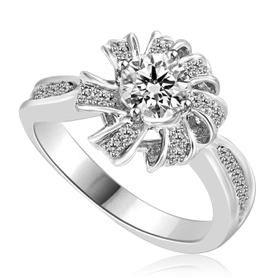 Designer Ring with 0.50 Cts. Round Brilliant Diamond Essence set in center of sparkling bow of Melee, with Melee set on either sides of the band. 0.75 Cts. T.W. set in Platinum Plated Sterling Silver.