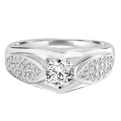 Designer Ring with 0.50 Ct. Round Brilliant Diamond Essence in center with cluster of Melee set in Leaf design. 1.35 Cts. T.W. set in Platinum Plated Sterling Silver