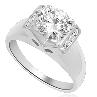 A Brilliant 2 Ct. Round sits smartly atop a wide tapering band with bezel set accentuators. The V Groove is an eye pleaser with 4 prong setting. 2.10 Ct. T.W. In Platinum Plated Sterling Silver.