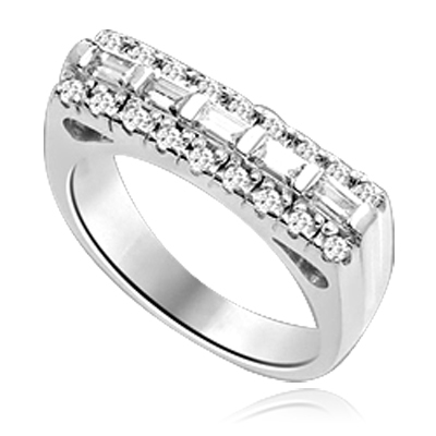 Now this one ring is going to set the pulse thumping! Wide Band is adorned with 5 X 0.25 Ct. Baguettes sexily surrounded by Round Accent Melee. 2 Cts. T.W. In Platinum Plated Sterling Silver.