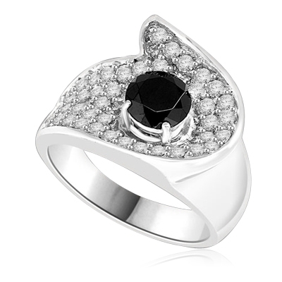 Big and Beautiful Ring With Round Cut Onyx Essence set in center surrounded by sparkling Melee. 2.0 Cts. T.W. set in Platinum Plated Sterling Silver.