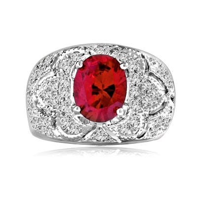 Designer Ring with 2.0 Cts. Oval cut Ruby Essence in center with Melee set floral design on the band. 2.5 Cts. T.W. set in Platinum Plated Sterling Silver.