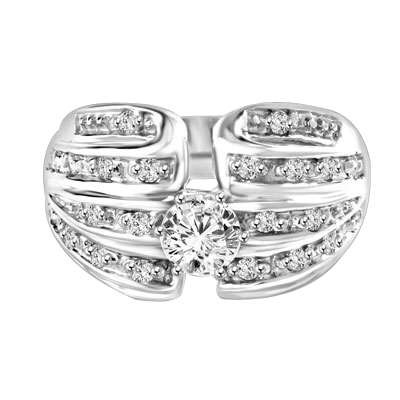 Designer Ring with 0.50 Ct. Round Brilliant Diamond Essence in center with five rows of sparkling Melee on both side. 0.85 Cts. T.W. set in Platinum Plated Sterling Silver.