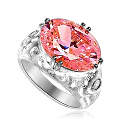 East West Ring - 8.5 Cts. Oval Cut Pink Essence set in heavy, eight prongs setting, with bezel set melee on each side. 8.65 Cts. T.W.  set in Platinum Plated Sterling Silver.