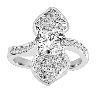 Shining Leaves - Ring with 1.25 Cts. Round Brilliant Diamond Essence in center between two shining leaves, 1.60 Cts. T.W. set in Platinum Plated Sterling Silver.