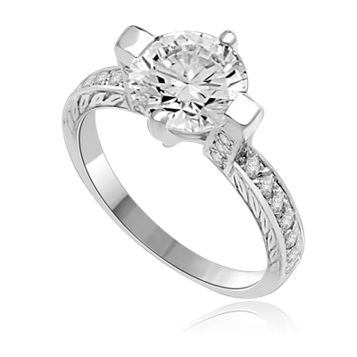 Two Carat Solitaire Ring in Horizontal Wide Prong and melee on the band. 1.5 Cts. T.W. Platinum Plated Sterling silver.