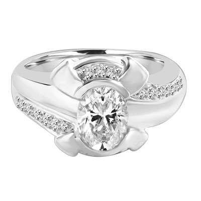 1.25 Cts. Chanel set Oval cut Diamond Essence in center with Melee on top and bottom flowing down on band, 1.50 Cts. T.W. set in Platinum Plated Sterling Silver.