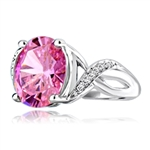 Diamond Essence Designer Ring with 5.0 Cts. Pink Oval in center, accompanied by melee on band, 5.65 Cts.T.W. set in Platinum Plated Sterling Silver.