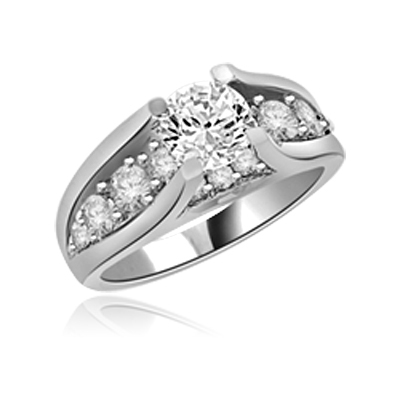 Designer Ring with 1.0 Cts. round Diamond Essence In center. In Platinum Plated Sterling Silver. Available in select Ring sizes.