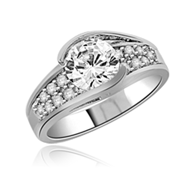 Designer Ring with 2.0 Cts. Round Diamond Essence in Center with Melee set on the band, in Platinum Plated Sterling Silver. Available in select Ring Sizes.