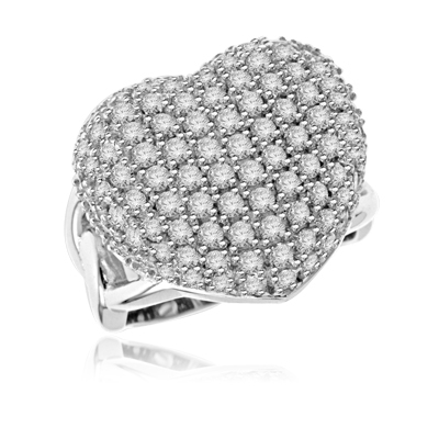 Ring with Cluster of round Diamond Essence stones making a beautiful Heart in Platinum Plated Sterling Silver. 1.75 Cts. T.W. Available in select Ring sizes.